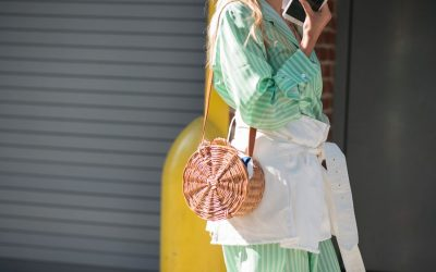 New York Fashion Week, hot trends from the Street Style: Wood and straw bags