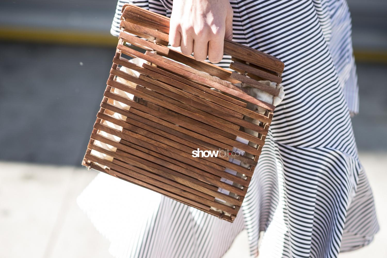 New York SS18 Street Style Wood Bag